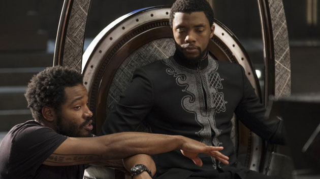 "Coogler and Boseman on the set of ""Black Panther"" -- Marvel Studios"